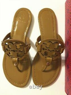 NIB Tory Burch Women's Miller Thong Sandals Shoes Patent Leather Sand Size 8.5