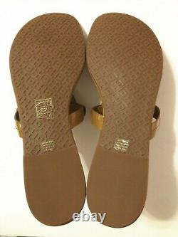 NIB Tory Burch Women's Miller Thong Sandals Shoes Patent Leather Sand Size 9