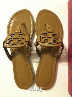 NIB Tory Burch Women's Miller Thong Sandals Shoes Patent Leather Sand Size 9.5