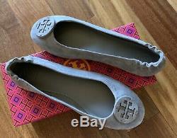 NIB Tory Burch Women's Minnie Travel Ballet Flats Shoes Suede Gray Heron 10 M