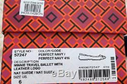 NIB Tory Burch Women's Minnie Travel Ballet Flats Shoes Suede Perfect Navy Sz 6