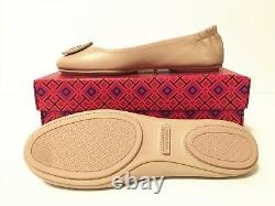 NIB Tory Burch Women's Minnie Travel Ballet With Logo Leather Flats Shoes 8.5