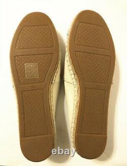 NIB Tory Burch Women's Poppy Espadrille Canvas/Calf Leather Flats Shoes 9.5