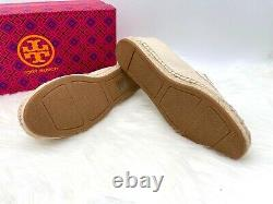 NIB Tory Burch Women's Poppy Logo Canvas Espadrille Flat Slip On Shoe 8M