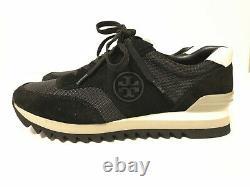 NIB Tory Burch Women's Sawtooth Logo Sneaker Athletic Shoes Black Size 9