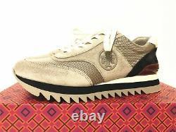 NIB Tory Burch Women's Sawtooth Logo Sneaker Athletic Shoes Nappa Leather 7.5