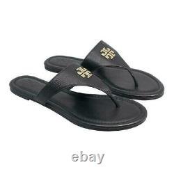 NWB 48255 Authentic Tory Burch Shoe Julie Flat Thong Tumbled Leather Sandal BLK