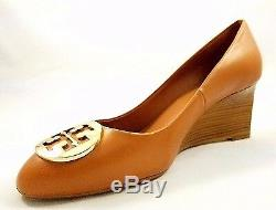 NWB Tory Burch Alice 65MM Wedge Royal Tan/Gold
