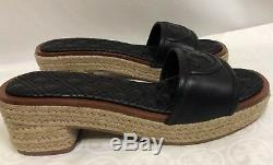 NWB Tory Burch Fleming 50MM Espadrille Slide SZ 6.5, Quilted Leather, Black
