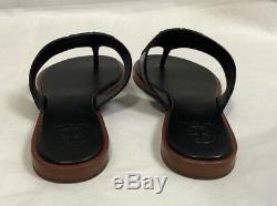 NWB Tory Burch Jamie Full Logo Thong Calf Leather, Black, SZ 7 # 48275