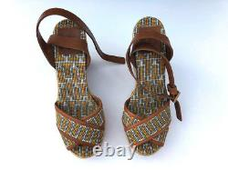 NWB Tory Burch Wedge Spain Jute Espadrille Womens Sandals Platform Shoes Size 8B