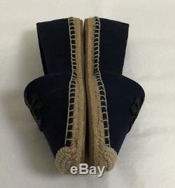 NWB Tory Burch Weston Flat Espadrille Canvas / Calf Leather, Navy / Black, SZ 7