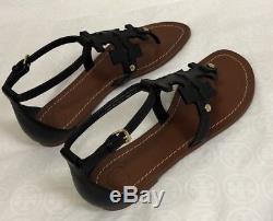 NWT Tory Burch Phoebe Logo Flat Thong Sandal SZ 7.5, Black # 30437