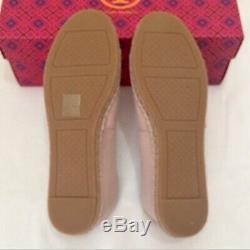NWT Tory Burch Poppy Logo Espadrille Flats Shoes Shell Pink/New Ivory Sz 8