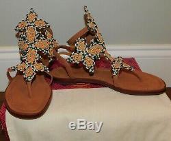 New Nib Tory Burch Palisade Tan Multi Woven T-strap Flats Sandals Shoes Women's