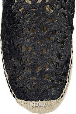 New TORY BURCH Clarisse laser-cut navy calf hair platform espadrilles shoes 10.5