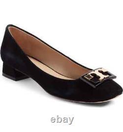 New TORY BURCH GIGI Block Logo Heel Pump Shoe Gold Logo Suede Black 7.5 M