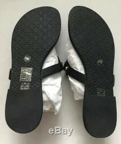 New TORY BURCH Miller Logo Veg Leather Thong Sandal Sz 7.5 Black Gold Flip Flop
