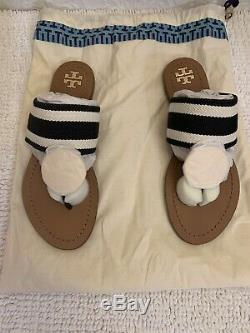 New TORY BURCH Patos Disk Sandals in Navy/White size 7.5 Flats Shoes