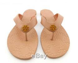 New TORY BURCH Size 8.5 MONROE Veg Natural Thong Logo Sandals Shoes 8 1/2