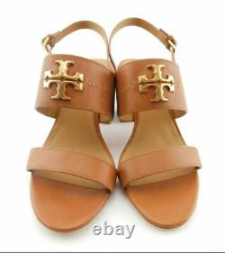New TORY BURCH Size 8 EVERLY 65mm Royal Tan Block Heel Sandals Shoes 57145