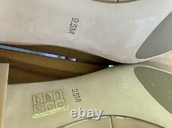 New Tory Burch Beige Gigi Nude Patent Leather Pumps Shoes Size 9.5