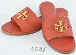 New Tory Burch Canyon Burnt Orange Leather EVERLY Slides Sandals Shoes 9.5