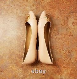 New! Tory Burch'Chelsea' Cap Toe Ballet Flat Shoes Sand Womens 9.5 M MSRP $248