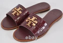 New Tory Burch Claret Red Croco Embossed Leather EVERLY Slides Sandals Shoes 7.5