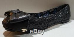 New Tory Burch DIVINE SEQUIN BOW Driver Black BALLET Flats shoes Size 7.5
