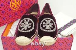 New Tory Burch Espadrille Shoes Size 10 Flats Velvet Red