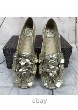 New Tory Burch Gold Flower Blossom Spring Leather Espadrille Flat Shoes Sz 5