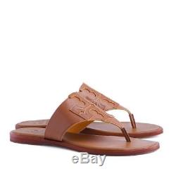 New Tory Burch Jamie Full Logo Thong Flat Sandals Veg Leather Royal Tan Marigold