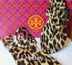 New Tory Burch MILLER SANDAL LEOPARD Leather Sandals 6.5 8 8.5 9.5 11 Bag + NIB