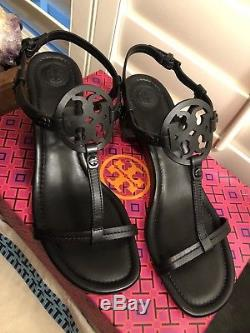 New Tory Burch Miller 60mm Wedge Sandals Black Shoes Size 8.5 Leather