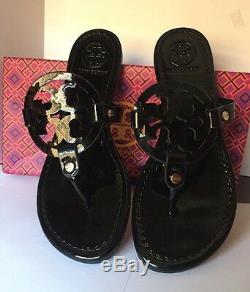 New Tory Burch Miller Sandals Black Patent Leather Shoes Size 8 m/