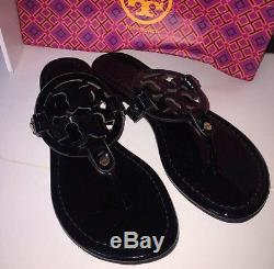 New Tory Burch Miller Sandals Black Patent Leather Shoes Size 8M