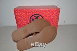 New Tory Burch Mini Miller Flat Thong Sandals Royal Tan Leather 9 Flip Flops Bag