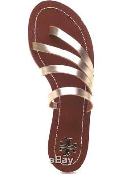 New Tory Burch PATOS Flat Sandals Spark Gold Vachetta Leather 7.5 7-1/2 NIB Box