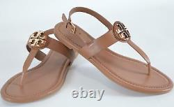 New Tory Burch Royal Tan CLAIRE Flat Leather Thong Sandals Shoes Size 8