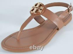 New Tory Burch Royal Tan CLAIRE Flat Leather Thong Sandals Shoes Size 9.5