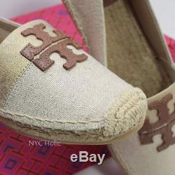 New Tory Burch Shoes Weston Flat Espadrille Canvas Leather Natural Royal Tan