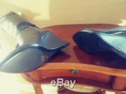 New Tory Burch Sz 8.5 Linnett Wedge Tall Leather Black Boots