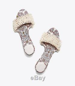 New Tory Burch TATIANA Beaded PEARL Slide Sandals Hicks Garden Satin Shoes 9.5