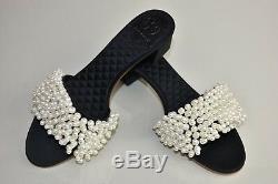 New Tory Burch TATIANA Beaded PEARL Slide Sandals Satin Black Mules Shoes 8 9
