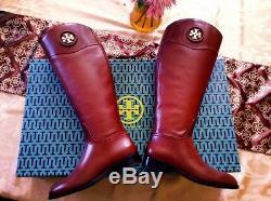 New Tory Burch Women's ASHLYNN Almond Brown Riding Boots Sz 7 -1 Heel LEATHER