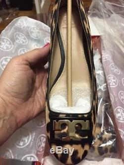 New Tory Burch Womens Gigi Calf Hair Block Heel Pumps Size 8
