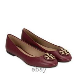 New Women Tory Burch Claire Ballet Flats Shoes Tumbled Leather Red agate