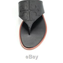 New Women's Tory Burch Jamie Full Logo Thong Black Veg Leather Flat Sandals