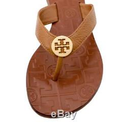 New Womens Tory Burch Thora Thong Flat Tumbled Leather Royal Tan Gold Sandals